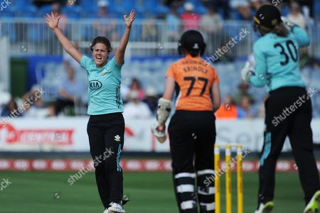 Natalie Sciver of Surrey Stars successfully appeals for the wicket of Arran Brindle who was adjudged to be out LBW  during the Women's Cricket Super League match between Southern Vipers and Surrey Stars at the 1st Central County Ground, Hove