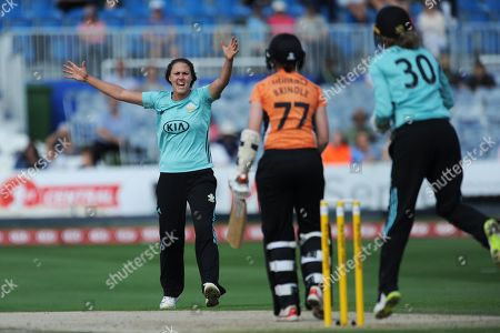Stock Picture of Natalie Sciver of Surrey Stars successfully appeals for the wicket of Arran Brindle who was adjudged to be out LBW  during the Women's Cricket Super League match between Southern Vipers and Surrey Stars at the 1st Central County Ground, Hove