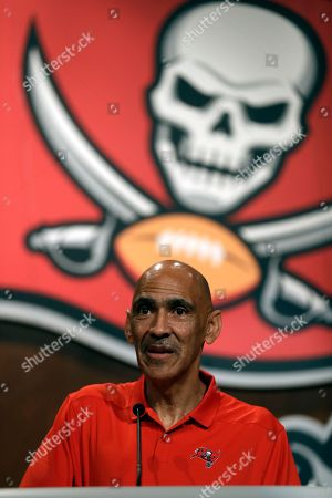 Former Tampa Bay Buccaneers head coach Tony Dungy during a Buccaneers NFL football Ring of Honor news conference, in Tampa, Fla. Dungy will be inducted during halftime of the Bucs game against the Pittsburgh Steelers on Sept. 24th