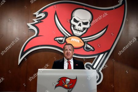 Tampa Bay Buccaneers owner/co-chairman Bryan Glazer during a Buccaneers NFL football Ring of Honor news conference, in Tampa, Fla. Former head coach Tony Dungy will be inducted during halftime of the Bucs game against the Pittsburgh Steelers on Sept. 24th