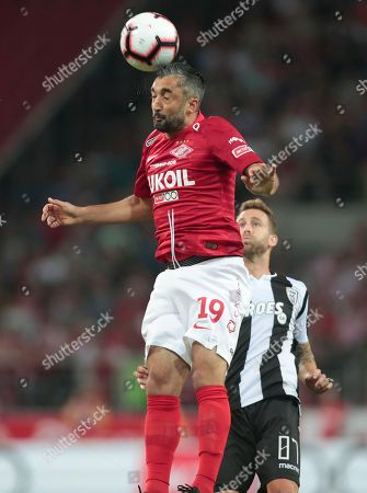 Spartak Moskva's Aleksandr Samedov heads the ball during the UEFA Champions League, third qualifying round, second leg soccer match between FC Spartak Moskva and PAOK FC at Spartak stadium in Moscow, Russia