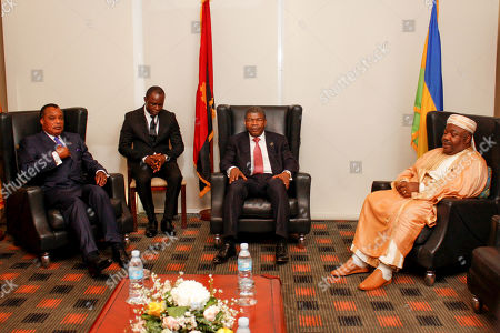 Angola President, Joao Lourenco (2-R), meets with his Gabon and Congo counterparts, Ali Bongo (R) and Dennis Sassou Nguesso (L), during the Luanda Summit, in Luanda, Angola, 14 August 2018.