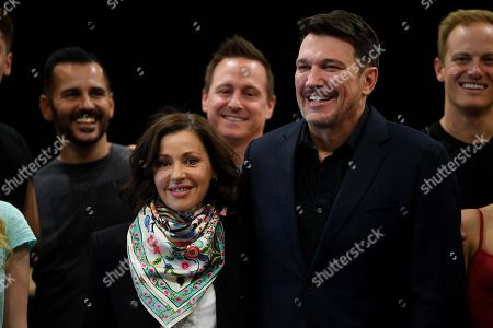 Australian singer Tina Arena and Brazilian singer Paulo Szot pose for photographs with cast members following a rehearsal for the Opera Australia musical production of Andrew Lloyd Webber's Evita, in Sydney, Australia, 15 August 2018. Evita will play at the Sydney Opera House from 13 September, followed by a season at Arts Centre Melbourne from 05 December.