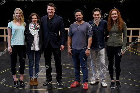 (L-R) Cast members Alexis van Maanen, Australian singer Tina Arena, Brazilian singer Paulo Szot, Kurt Kansley, Michael Falzon and Jemma Rix pose for photographs following a rehearsal for the Opera Australia musical production of Andrew Lloyd Webber's Evita, in Sydney, Australia, 15 August 2018. Evita will play at the Sydney Opera House from 13 September, followed by a season at Arts Centre Melbourne from 05 December.