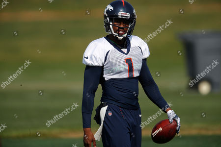 R m. Denver Broncos punter Marquette King (1) takes part in drills during an NFL football training camp at the team's headquarters, in Englewood, Colo
