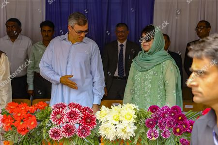 Former chief ministers of Jammu and Kashmir Mehbooba Mufti and Umer Abdullah during celebrations of India's independence day in Srinagar.