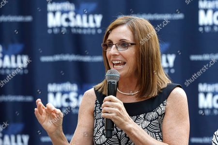 Rep. Martha McSally, R-Ariz., speaks during a news conference at a campaign event for her U.S. Senate primary race, in Phoenix. McSally, Kelli Ward and former Maricopa County Sheriff Joe Arpaio are vying for the Republican nomination, but there are no plans currently for a televised debate for the Republican candidates, on the Democratic side, Rep. Kyrsten Sinema and activist Deedra Abboud haven't had a televised debate either