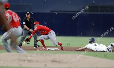 David Fletcher, Felix Pena, Wil Myers. Los Angeles Angels shortstop David Fletcher, center, reaches for the throw as San Diego Padres' Wil Myers, right, steals second base during the first inning of a baseball game, in San Diego