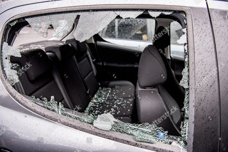 Car That Set On Fire By Masked Editorial Stock Photo