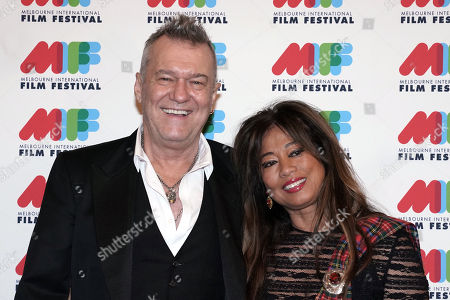 Stock Photo of Australian singer Jimmy Barnes (L) and his wife Jane Mahoney (R) pose for photographs during the world premiere of Working Class Boy at the Comedy Theatre in Melbourne, Australia, 16 August 2018. Joffe's new film Working Class Boy is based on Jimmy Barnes' bestselling memoir.