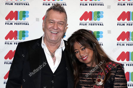Australian singer Jimmy Barnes (L) and his wife Jane Mahoney (R) pose for photographs during the world premiere of Working Class Boy at the Comedy Theatre in Melbourne, Australia, 16 August 2018. Joffe's new film Working Class Boy is based on Jimmy Barnes' bestselling memoir.
