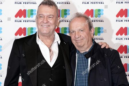 Stock Picture of Australian singer Jimmy Barnes (L) and Australian film and television director Mark Joffe (R) pose for photographs during the world premiere of Working Class Boy at the Comedy Theatre in Melbourne, Australia, 16 August 2018. Joffe's new film Working Class Boy is based on Jimmy Barnes' bestselling memoir.