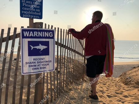 Steve McFadden, 49, of Plattsburgh, New York, gazes at Long Nook Beach in Truro, Massachusetts, on . Authorities closed the Cape Cod beach to swimmers after a man was attacked by a shark on Wednesday ? the first attack on a person in Massachusetts since 2012. The unidentified victim survived the attack and was airlifted to a Boston hospital