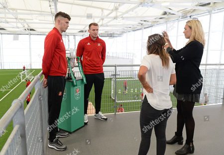 Tom Flanagan and Charlie Wyke of Sunderland at the Sunderland Club Community Education Scheme giving an interview to the EFL.