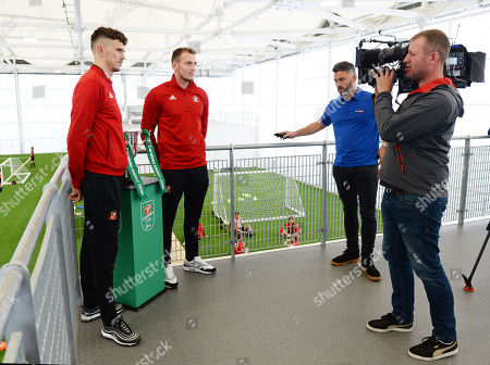Tom Flanagan and Charlie Wyke of Sunderland at Sunderland Club Community Education Scheme being interviewed by Keith Downie for Sky Sports.