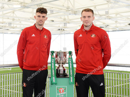 Stock Picture of Tom Flanagan (left) and Charlie Wyke of Sunderland pose with the Carabao EFL Cup at the Sunderland Club Community Education Scheme