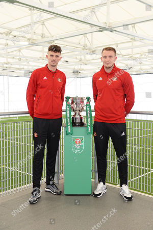 Stock Image of Tom Flanagan (left) and Charlie Wyke of Sunderland pose with the Carabao EFL Cup at the Sunderland Club Community Education Scheme