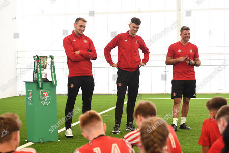 Tom Flanagan and Charlie Wyke of Sunderland with The Carabao EFL Cup at the Sunderland Club Community Education Scheme doing and Q&A with the boys and girls.