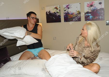 Bobby Cole Norris and Charlie Doherty have a pillow fight at their London hotel