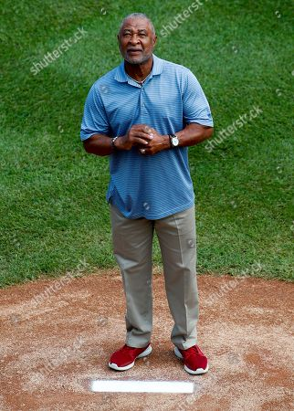 Eddie Murray. Baseball Hall of Famer Ozzie Smith stands on the mound before throwing out a ceremonial first pitch during the opening ceremony of the 2018 Little League World Series tournament in South Williamsport, Pa