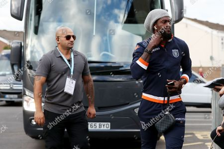 Emmanuel Adebayor of Istanbul Basaksehir arrives before the start of the match