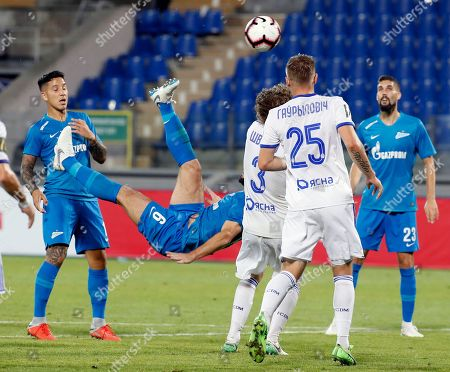 Branislav Ivanovic (2L) of FC Zenit in action against FC Dinamo Minsk during the UEFA Europa League soccer match between FC Zenit St. Petersburg and FC Dinamo Minsk at the Petrovsky stadium in St. Petersburg, Russia, 16 August 2018. Zenit won 8-1.