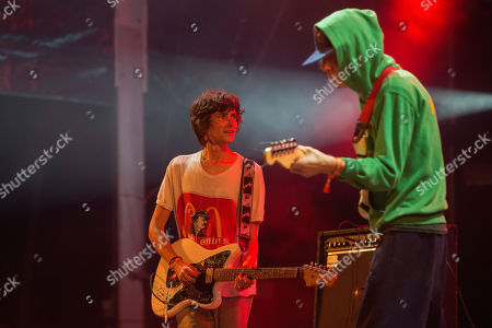 US musician Zachary Cole (L) from rock band DIIV performs on stage at 'Paredes de Coura' music festival, in Paredes de Coura, north of Portugal, 17 August 2018. The festival runs until 18 August.