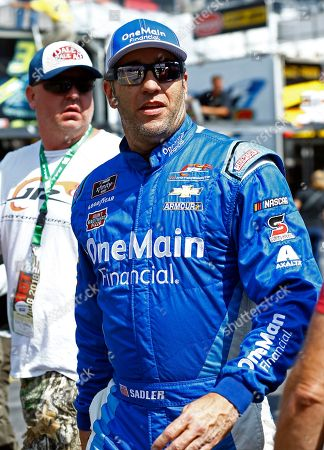 Stock Picture of Elliott Sadler is seen before qualifying for a NASCAR Xfinity Series auto race, in Bristol, Tenn