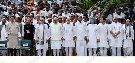 Bhutan King Jigme Khesar Namgyel Wangchuck, Prime Minister Narendra Modi, BJP President Amit Shah, LK Advani, Vice president M Venkaiah Naidu, Congress leader Manmohan Singh, Rahul Gandhi, Home minister Rajnath Singh during the funeral ceremony of former Prime Minister Atal Bihari Vajpayee at Rashtriya Smriti Sthal on August 17, 2018 in New Delhi, India.