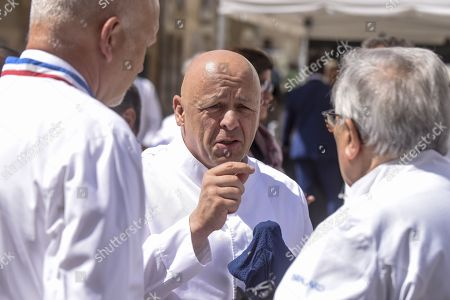 Chef Thierry Marx is seen before a ceremony of tribute to the famous star chef Joel Robuchon at Saint-Pierre Cathedral in Poitiers
