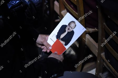 A picture of Chef Joel Robuchon is seen during a ceremony of tribute to the famous star chef Joel Robuchon at Saint-Pierre Cathedral in Poitiers
