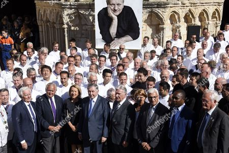 Stock Photo of French chefs are seen after a ceremony of tribute to the famous star chef Joel Robuchon at Saint-Pierre Cathedral in Poitiers