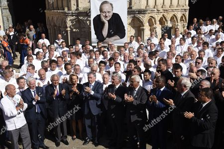 Stock Picture of French chefs are seen after a ceremony of tribute to the famous star chef Joel Robuchon at Saint-Pierre Cathedral in Poitiers