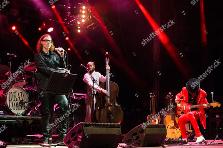 US musician Mark Lanegan (L) performs with portuguese band Dead Combo at 'Paredes de Coura' music festival, in Paredes de Coura, north of Portugal, 18 August 2018 (issued 19 August 2018). The festival runs until 18 August.