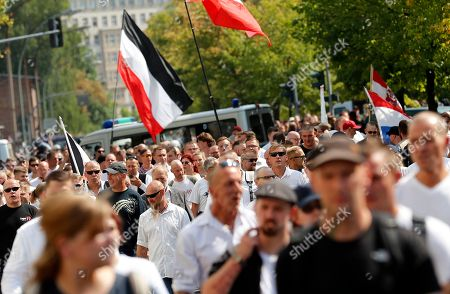 Far-right supporters take part a demonstration commemorating the death anniversary Rudolf Hess in Berlin, Germany, 18 August 2018. Hess died on 17 August 1987 after committing suicide in the Spandau Prison, where he served his life sentence. Hess was one of the most prominent Nazi leaders and appointed Deputy Fuehrer by German dictator Adolf Hitler in 1933.