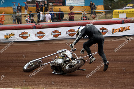 Stock Picture of Guy Martin comes off his Harley chopper in practice during DirtQuake at the Arena Essex Raceway on 18th August 2018