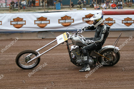 Guy Martin in action on his Harley chopper during DirtQuake at the Arena Essex Raceway on 18th August 2018