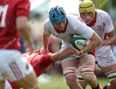 Ulster Schools v Munster Schools. Ulster's Jonathan Agnew with Munster's Billy Kingston
