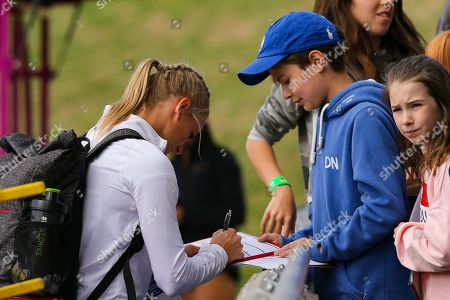 Women's Pault Vaulter Katie Nageotte (USA) signs autographs at the Muller Grand Prix at Alexander Stadium, Birmingham. Picture by Ian Stephen