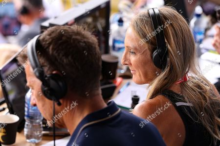 Paula Radcliffe and Steve Cram commentating during the Muller Grand Prix at Alexander Stadium, Birmingham. Picture by Ian Stephen