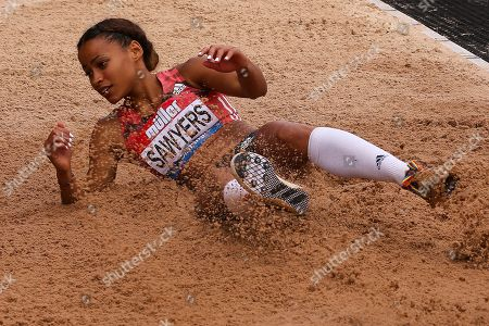 Women's Long Jumper Jazmin Sawyers (Great Britain) during the Muller Grand Prix at Alexander Stadium, Birmingham. Picture by Ian Stephen