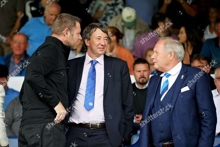 Posh joint owner Dr Jason Neale talking to Barry Fry and Darragh MacAnthony before the EFL Sky Bet League 1 match between Peterborough United and Luton Town at London Road, Peterborough