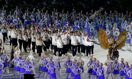 Stock Picture of Phillippines Jordan Clarkson leads his team into the Gelora Bung Karno Stadium during the opening ceremony for the 18th Asian Games in Jakarta, Indonesia