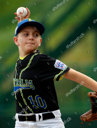 Australia's starting pitcher Matthew White (10) pitches against Puerto Rico in the first inning of an elimination baseball game in International pool play at the Little League World Series tournament in South Williamsport, Pa