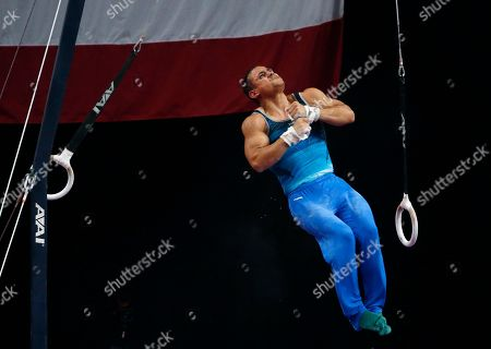 Trevor Howard competes on the rings at the U.S. Gymnastics Championships, in Boston