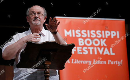 Stock Photo of Author and social commentator Salman Rushdie recalls his childhood in India as he highlights his own start in the writing game during the Mississippi Book Festival in Jackson, Miss., . Award-winning authors Jesmyn Ward and Rick Bragg joined a number of Southern writers representing nonfiction, fiction, novels, cookbooks, children's books, environmental, history and photography, at the fourth Mississippi Book Festival