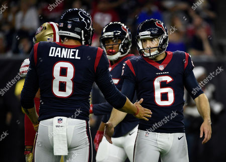 Houston Texans kicker Stephen Morris (6) is congratulated by Trevor Daniel (8) after kicking a field goal against the San Francisco 49ers during the second half of a preseason NFL football game, in Houston