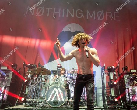 Ben Anderson, Jonny Hawkins. The American heavy metal band Nothing More with drummer Ben Anderson and lead vocalist Jonny Hawkins performs at the Xfinity Center, in Mansfield, Mass