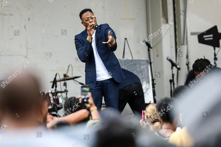 Raheem DeVaughn celebrates 'Made For Now' at the 44th annual Harlem Week on August 18, 2018 in New York City