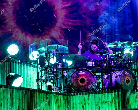 Shaun Foist. The American alternative rock band Breaking Benjamin with drummer Shuan Foist performs at the Xfinity Center, in Mansfield, Mass
